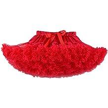 Free Fisher Niñas Falda de hada Niñas de capas de volantes Tutú Ropa de Baile Fiesta, Rojo , 12 meses(tamaño fabricante: S)