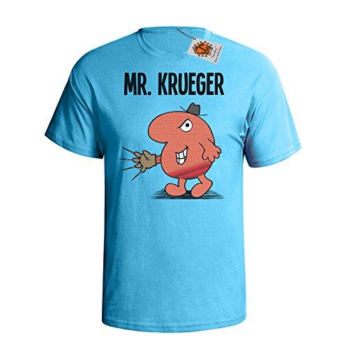 Mr Kruegar 'Mr Mimic' Mens Uomo Maglietta cult horror movie inspired t shirt Blu