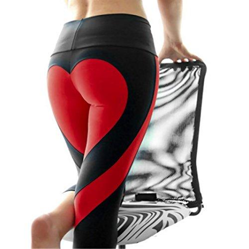 Oyedens Damen SchöNe Liebe Herz Sportkleidung Elastische Yoga Lange Leggings Fitness Hose (S, Schwarz) (Bootcut-velours-hose)