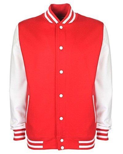 fdm hoodie FDM Unisex Herren/Damen Jacke College Baseball schwerer Baumwolle Sweat Top XL,Feuerrot/Weiß