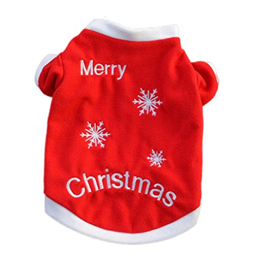 Weihnachten Haustier Welpen Mantel, Hmeng Hochwertige gestickte Welpen Kleidung Herbst Winter Warm Pullover (L, Rot) (Baby Cowboy Kostüm Muster)