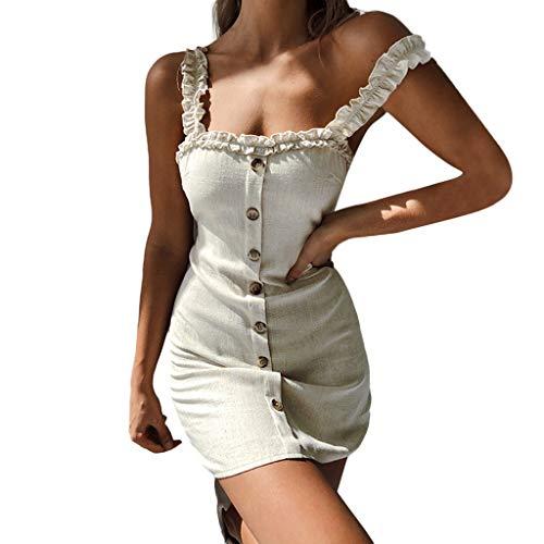 Kleid Kostüm Gingham - SANFASHION Damen Maxikleider,Frauen Sexy Frauen Gurt Slip Ruffle Gingham Button A-Linie ärmellose Kleider