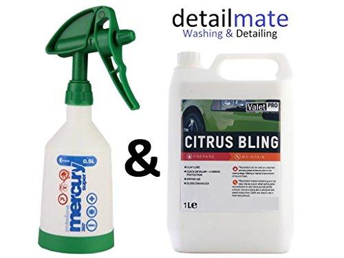 Kwazar 0,5l Mercury Super Pro+ 360 Grad grün + ValetPRO Citrus Bling 1 Liter - Auto Quick Detailer, als Glanzverstärker, Detailer, Gleitmittel für Reinigungsknete. Konzentrat, verdünnbar. -