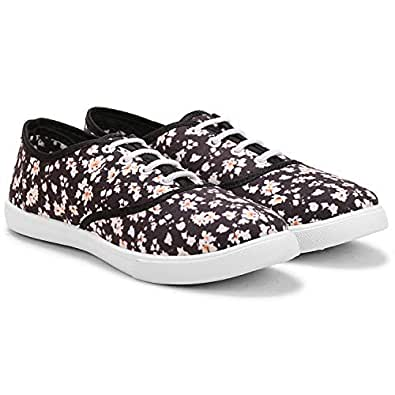 FUEL Women's Girls Fashion Printed Flower Laced Up Casual Bellies Sneakers Shoes (4 UK, Black-White)