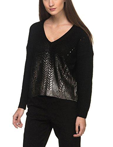 Only Womens Tora Womens Sweater In Beige Black/ Detail:W Gun Metal