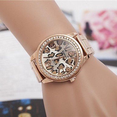 FENKOO Damen Modeuhr Quartz Legierung Band Armbanduhr/Leopard Silber/Gold/Rotgold