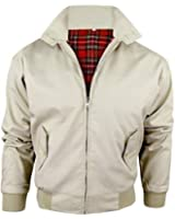 New Adults British Made Harrington Jacket Coat Bomber Classic 1970's Vintage Retro Mod Skin Scooter Tartan Lining Beige XL