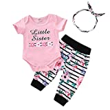 HEETEY Kinderkleidung Kleinkind Säuglingsbaby Kurzarm Rundhals Floral Letters Print Strampler Stripe Pants Hair Band Outfits Set
