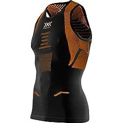 X-Bionic Hombre Running Man The trick OW Singlet unidad Camisa, hombre, RUNNING MAN THE TRICK OW SINGLET, Black/Orange Shiny