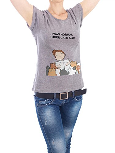 "Design T-Shirt Frauen Earth Positive ""I was normal"" - stylisches Shirt Kindermotive Comic von Lingvistov Grau"