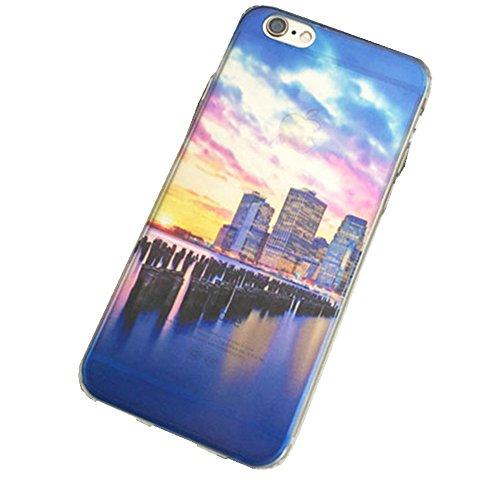 Jinberry Colorate Custodia Protettiva in TPU Morbida per iPhone6 (4.7) Dipinto Ultrasottile 0.5mm Case Back Cover con Protezione Tappi Polvere Apple iPhone 6 - Faro Crepuscolo