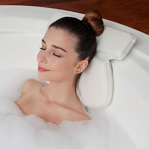 Almohada de Baño Para Tina| Soporte de Cojín para Cuello, Hombros y Cabeza| Con Ventosas Antideslizantes | Almohadas Impermeables para Jacuzzi, Bañera y Spa