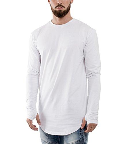 Phoenix Oversize Round Longsleeve T-Shirt Herren Langarm Longshirt Abgerundet Weiß
