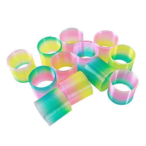 Mini-Springspielzeug, 24 Stück, schlanke Regenbogenkreise, bunt, magischer Kunststoff, Federspielzeug, 4,7 x 4,7 cm