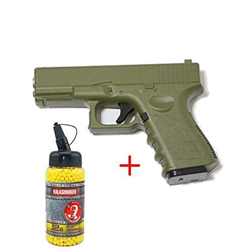 Galaxy Airsoft G.15 Type Glock 17 Culasse Métal à Ressort Couleur OD Bouteille de Billes 0.12 Offert Forces Spéciales/Swat/Cosplay/Puissance 0.5 Joule