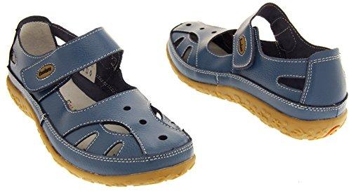 Coolers Cuir Mary Jane Ballerines Chaussures d'Eté Femmes Myrtille (bleu)