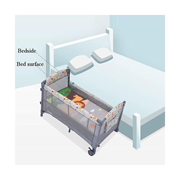 Travel Crib Cots Baby Nest Pod Bassinet Multifunctional Crib Travel Cots for Baby Sleeptight Portable Folding Carry with Mattress, Diaper Table, Mosquito Net, Toy Stand Grey and Blue (Color : A) OZYN Travel cots 【2-IN-1 BABY TRAVEL COT】There are two layers on this baby travel bed, the top layer is suitable for feeding and resting, and the bottom layer is ideal for crawling or learning to walk. You can use our infant cot in various kinds of places according to your different needs. 【MATERIAL】High quality oxford material, soft and comfortable, free of paint formaldehyde, wear-resistant, dirt-resistant, durable, preferably coir mattress, care for your baby's body and healthy growth 【SAFE CONSTRUCTION FOR BABY】You can find that the rail of this baby travel bed is high, and this design is better to ensure the safety of kids while playing. You are able to keep a close eye on your child all the time and do not need to stand up as you can focus on them by mesh side. 5
