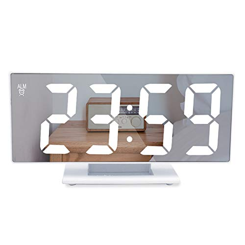 Litthing Reloj de Espejo Digital Mute LED Reloj Despertador Electrónico Moderno con Función Snooze...