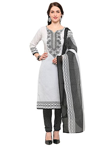 Kanchnar Women's Crepe White Printed Unstitched Salwar Suit