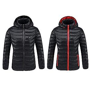 Oshidede Damen Beheizte Jacke, USB Temperatur Heizung Kohlefaser Warme Wintermantel Für Outdoor-Radfahren/Skifahren/Motorrad/Eisfischen/Wandern