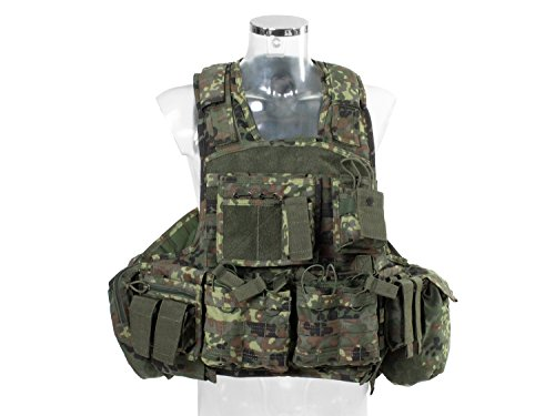 Invader Gear Plate Carrier / Plattenträger COMBO, mit 9 Taschen, Molle kompatibel, flecktarn