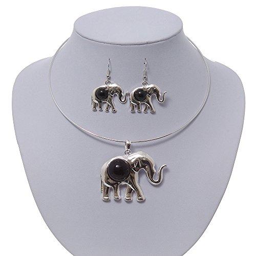 Bañado en plata para cable Flex 'elefante' collar con colgante de y Juego de pendientes de Drop con piedra color negro - ajustable