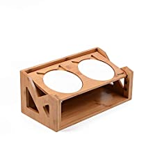 Petsoigné Cat Bowls Pet Dining Table with Raised Slope Wooden Stand Elevated Pet Bowls with Oblique Stand for More Comfortable Eating for Cats, Dogs, Kitten and Puppy (2 Bowls, Liftable)