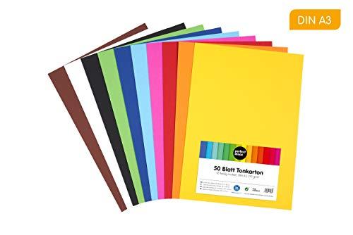 perfect ideaz 50 Blatt DIN-A3 Ton-Karton bunt, Bastel-Papier, Bogen durchgefärbt, 10 verschiedene Farben, 210g /m², Foto-Zeichen-Pappe zum Basteln, buntes Blätter-Set farbig, DIY-Bedarf -