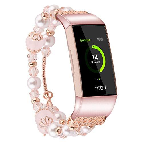 WAOTIER für Fitbit Charge 3 Armband Ketten Armband mit Farbiger Perlen Deko Ersatzband für Fitbit VCharge 3 Armband Slim Armband für Frauen mit Metall Verschluss Freizeit Retro Armband (Rosa)