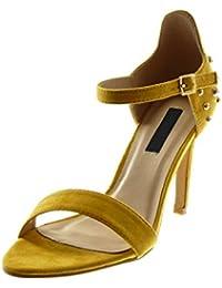Chaussures Sandales Femmes Talon Haut Bout Ouvert Les Creux d'épaisseur Jaunes,Romain,42