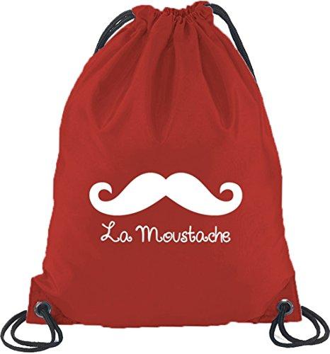 Shirtstreet24, La Moustache, Baffi Borsetta Da Palestra Borsa Sportiva Rossa