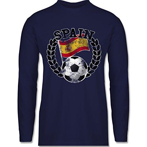 EM 2016 - Frankreich - Spain Flagge & Fußball Vintage - Longsleeve / langärmeliges T-Shirt für Herren Navy Blau