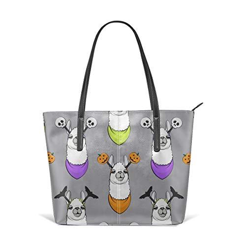 Cocoal-ltd Halloween-Handtasche mit Stirnband auf grauem Leder, große Geldbörse, Schultertasche, tragbare Aufbewahrung, Handtaschen, praktische Einkaufstasche