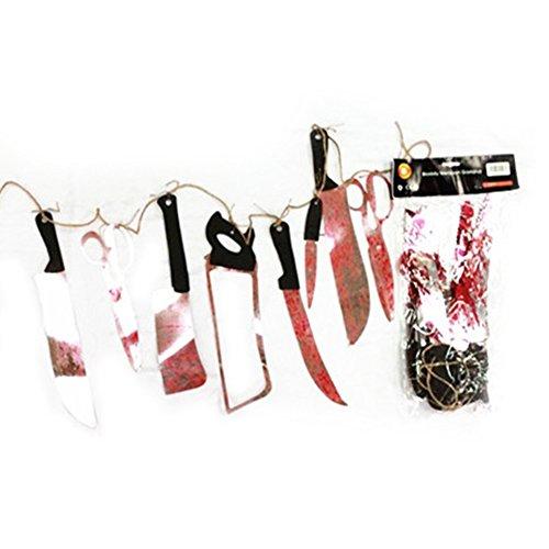 Yimosecoxiang New Halloween Dekoration mit Vorhang Anhänger Special Festival bietet 2m Halloween Bloody Waffen Girlande Prop Party Decor Schwert Messer Hängendes Banner Multi