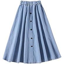 Cikuso Moda para Mujer Coreano Cintura Elastica Solida una Linea Falda De  Mezclilla Boton Falda Jean 4ae4ad29186