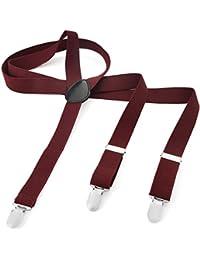Long Hosenträger Herren Damen Hosen Träger Y Form Style 3er Clips elastisch Schmal Unifarbe