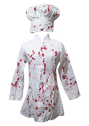 Petitebelle Halloween-Kostüm, weiß, blutiger Koch, für Frauen  -