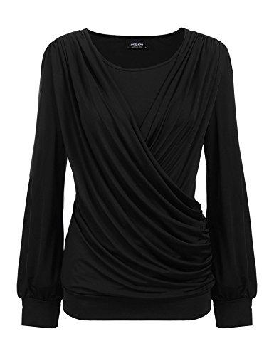 CHIGANT Damen Langarmshirt Elegant Casual Oberteile Drapiert Basic Pullover mit Wickel-Optik S-XXL