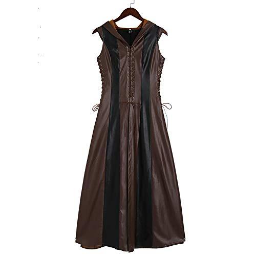 DUHLi Frauen Cosplay Kostüm Sexy Slim Lace Up Leder Mittelalter Ranger Kleid Langes Kleid Ärmelloses Kleid Größe - Toga Kostüm Machen
