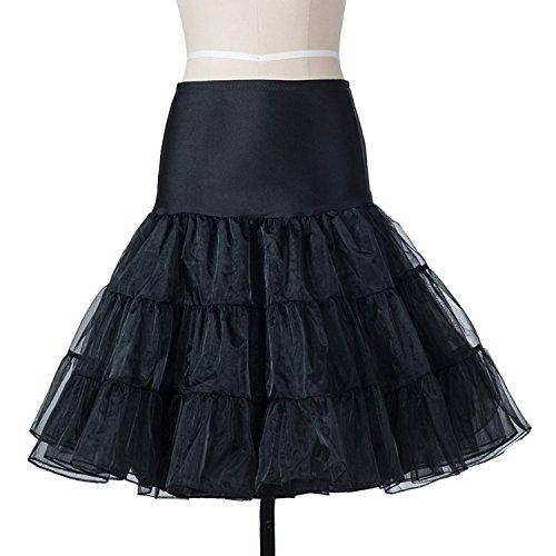 BOOLAVARD Wedding bridal 1950 Petticoat Reifrock Unterrock Underskirt Crinoline für Rockabilly Kleid Schwarz