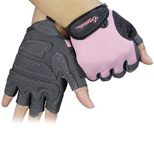 Halbe Finger Fitness Handschuhe, Reiten Bodybuilding Gym Workout Fitness Übung Rosa Handschuhe Dünne Gewichtheben Übung für Frauen - S