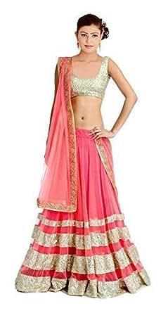 Sanjana Collection Women's Net Lehenga Choli (Peach and Silver_Free Size)