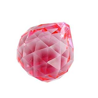 Feng Shui 40 mm Crystal Ball Asfour Prismen Pink inkl. gratis Schnur-Armband AA250 Mxsabrina Rot