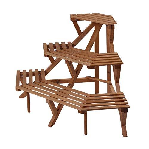 Fuweiencore supporto per fiori in legno massello/struttura in legno massello multistrato/struttura scaletta angolare/portafiori in legno massello/rack per piante da esterno-a (colore : b)