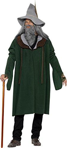 Holzfäller Kostüm Bart (Smiffys, Herren Waldzauberer Kostüm, Umhang, Hut, Bart und Handschuhe, Größe: M,)
