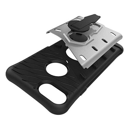 Coque Apple iPhone 7, SsHhUu Dure Heavy Duty Réduction de Vibration Couverture Double Couche Armure Combo avec Pivotant Kickstand Protecteur Étui Case pour Apple iPhone 7 4.7 Pouce Rouge Gris
