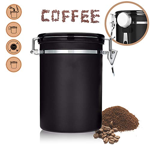 Airtight Coffee Storage Set, Large Stainless Steel Coffee Container for 624g/22oz Coffee Canister with 1 Measure Scoop for Roasted Coffee Beans, Tea, Nuts and Powders, Freshness Protected Black