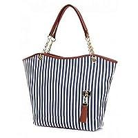 حقيبة يد كبيرة تحمل على الكتف للنساء مخصصة للتسوق مصنوعة من القماش بتصميم مخطط ومزودة بشراشيب، لون كحلي