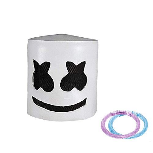UMyhou DJ Marshmello Maske Helm,Modische Halloween Party Nachtclub Latex Weiß Maske Adult DJ Marshmello Maske Cosplay Kostüm Helm ()