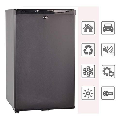 SMAD Auto Mini-Kühlschrank 12V und 220V Minibar Absorption Kühlschrank für Camping Wohnmobil RV Truck Büro Hotel Klein Kühlschrank mit Schloss 0dB 50L Schwarz -